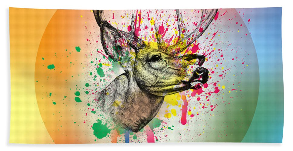 Deer Beach Towel featuring the digital art Deer 7 by Mark Ashkenazi