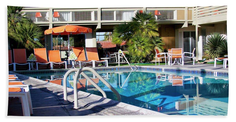 Midcentury Beach Towel featuring the photograph Del Marcos Pool Palm Springs by William Dey
