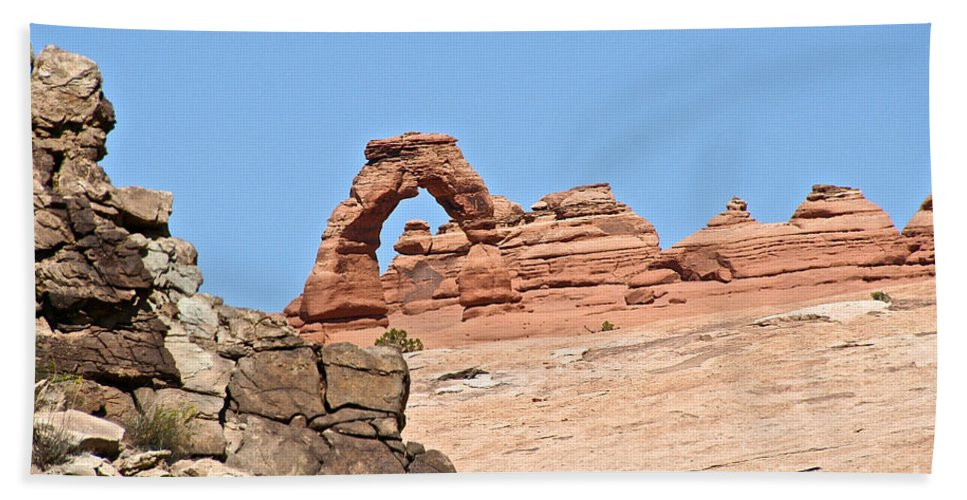 Utah Beach Towel featuring the photograph Delicate Arch by Susan Herber