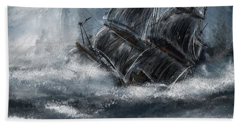 Shipwreck Beach Towel featuring the painting Deluged By The Wave by Lourry Legarde