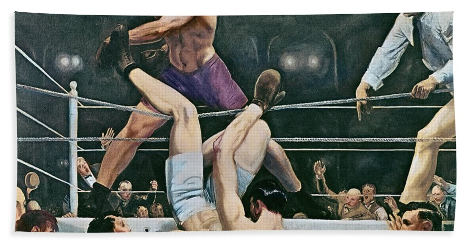 Referee Beach Towel featuring the painting Dempsey V Firpo In New York City by George Wesley Bellows