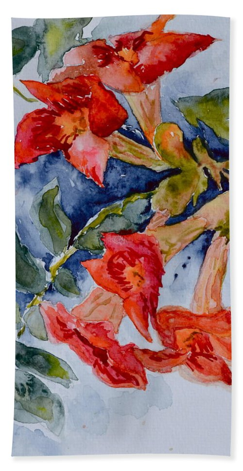 Watercolor Beach Towel featuring the painting Denim And Brass by Beverley Harper Tinsley