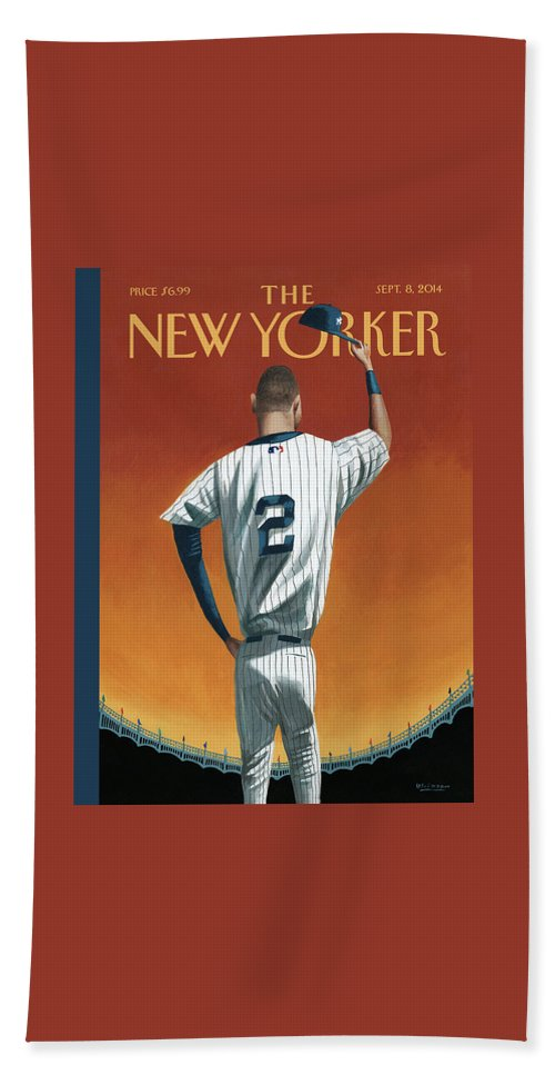 Retirement Beach Sheet featuring the painting Derek Jeter Bows Out by Mark Ulriksen