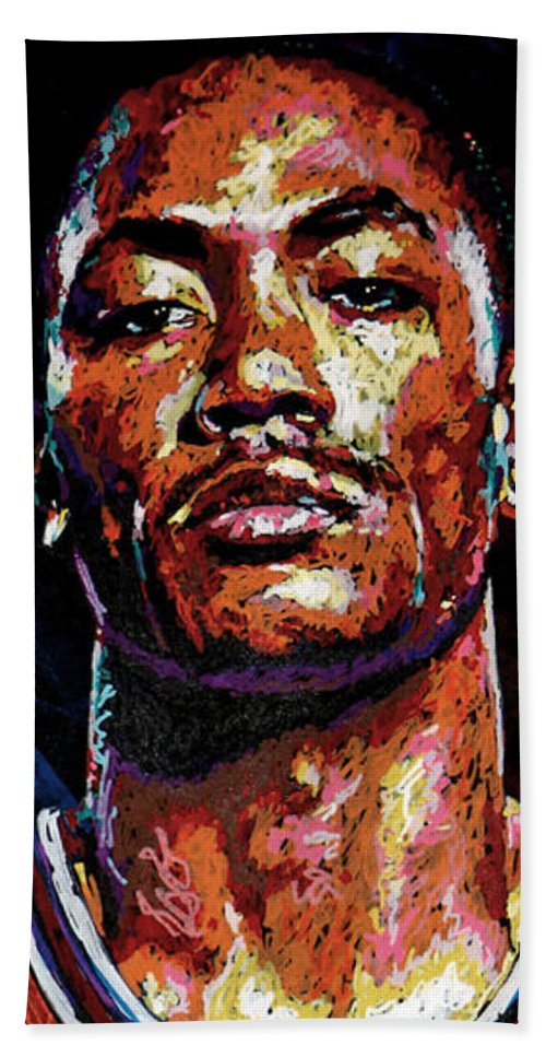 Derrick Rose Beach Towel featuring the painting Derrick Rose-2 by Maria Arango