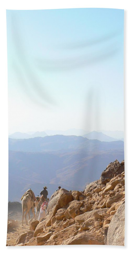 Mt. Sinai Beach Towel featuring the photograph Descending From Sinai by Katerina Naumenko