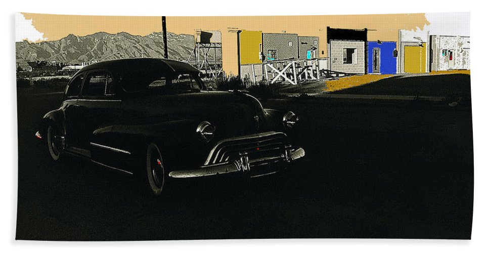Desert Bloom Set Las Vegas Early 1950's 1946 Oldsmobile Catalinas Tucson Arizona Color Added Beach Towel featuring the photograph Desert Bloom Set Las Vegas Early 1950's 1946 Oldsmobile Catalinas Tucson Arizona 1985 by David Lee Guss
