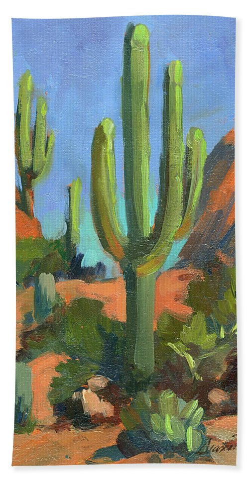 Desert Morning Beach Towel featuring the painting Desert Morning Saguaro by Diane McClary