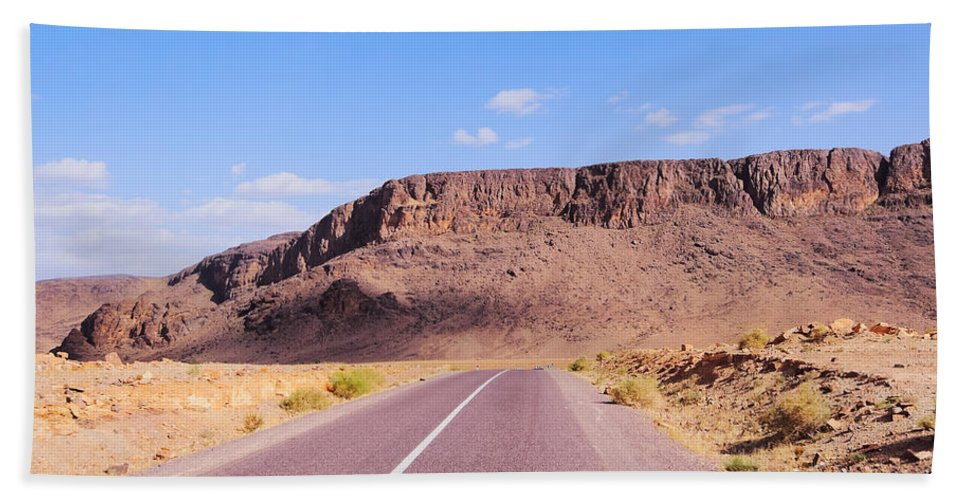 Horizontal Beach Towel featuring the photograph Desert Road In Morocco by Karol Kozlowski