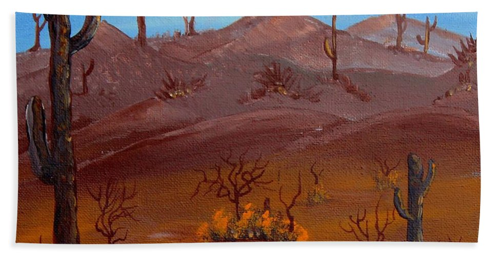 Barbara Griffin Beach Towel featuring the painting Desert View by Barbara Griffin