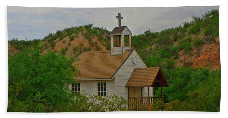 Old West Church In The Desert Beach Towel featuring the photograph Deserted Church by John Malone