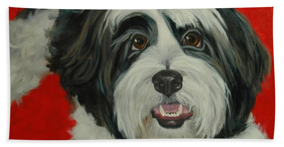 Shih Tzu Beach Towel featuring the painting Desi by Pet Whimsy Portraits