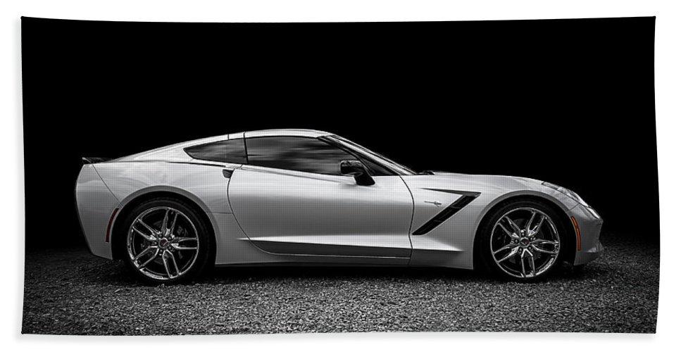 Corvette Beach Towel featuring the digital art 2014 Corvette Stingray by Douglas Pittman