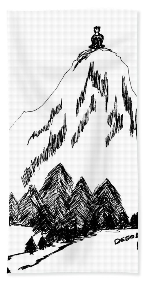 Desolation Peak Beach Towel featuring the drawing Desolation Peak_alone Time by Donna Haggerty