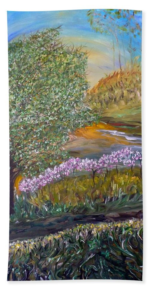 Outdoor Whimsical Garden Scene Beach Towel featuring the painting Destiny Garden by Sara Credito