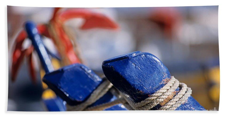 Hydra; Idra; Greece; Hellas; Greek; Hellenic; Argosaronic; Saronic; Gulf; Town; Village; Chora; Islands; Port; Harbor; Fishing; Fish; Boat Beach Towel featuring the photograph Detail From Fishing Boat by George Atsametakis