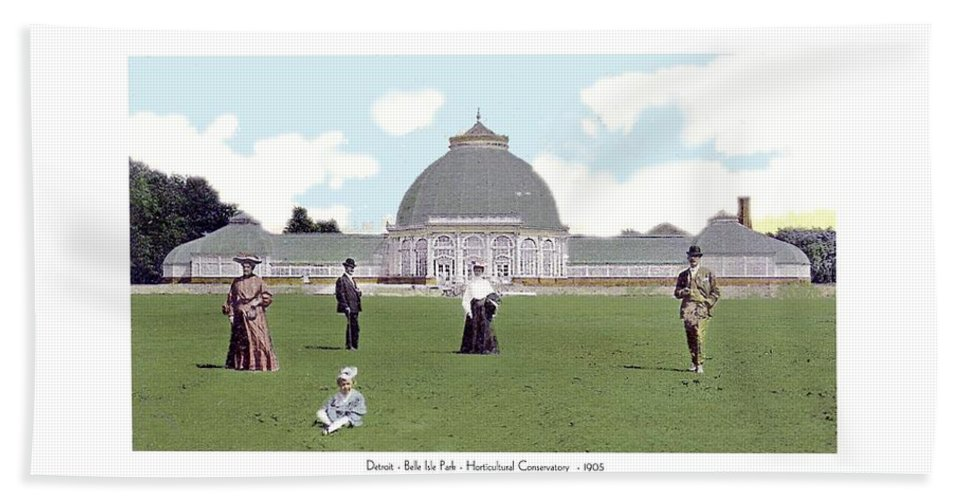1908 Beach Towel featuring the digital art Detroit - Horticultural Conservatory - Belle Isle Park - 1905 by John Madison