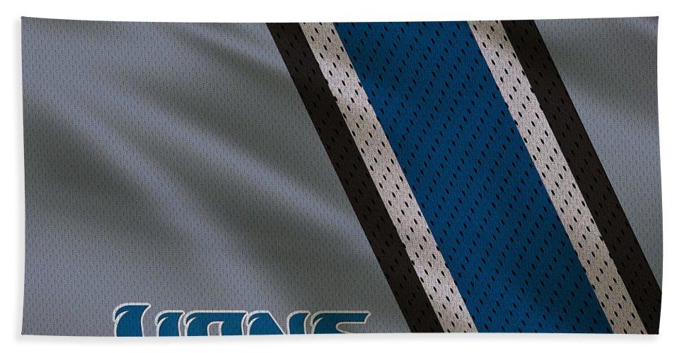 Lions Beach Towel featuring the photograph Detroit Lions Uniform by Joe Hamilton