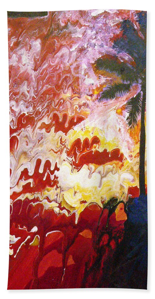 Devil Beach Towel featuring the painting Devil At 4 O'clock by Michael Tokarski
