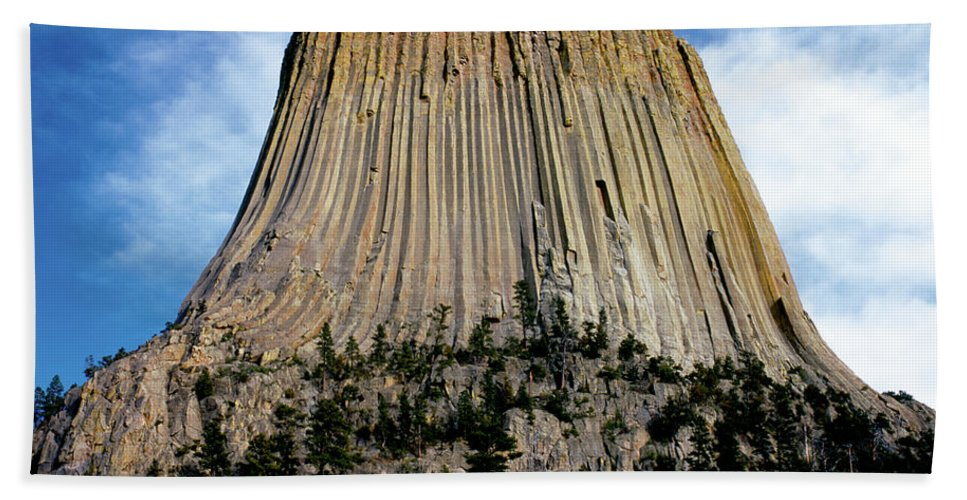 National Monument Beach Towel featuring the photograph Devils Tower by Ed Riche