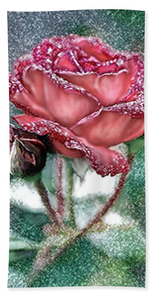 Rose Beach Towel featuring the photograph Dewey Rose by Bonnie Willis