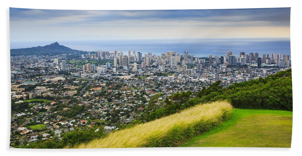 View Beach Towel featuring the photograph Diamond Head And The City Of Honolulu by Ami Parikh