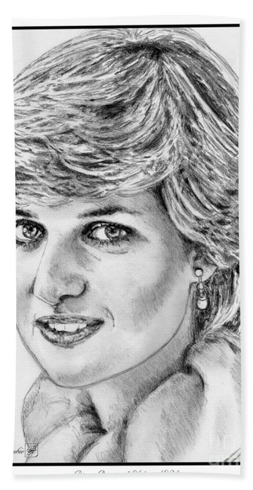 Mccombie Beach Towel featuring the drawing Diana - Princess Of Wales In 1981 by J McCombie
