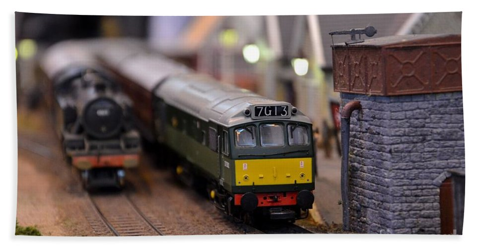 Diesel Electric Model Train Railway Engine Beach Towel