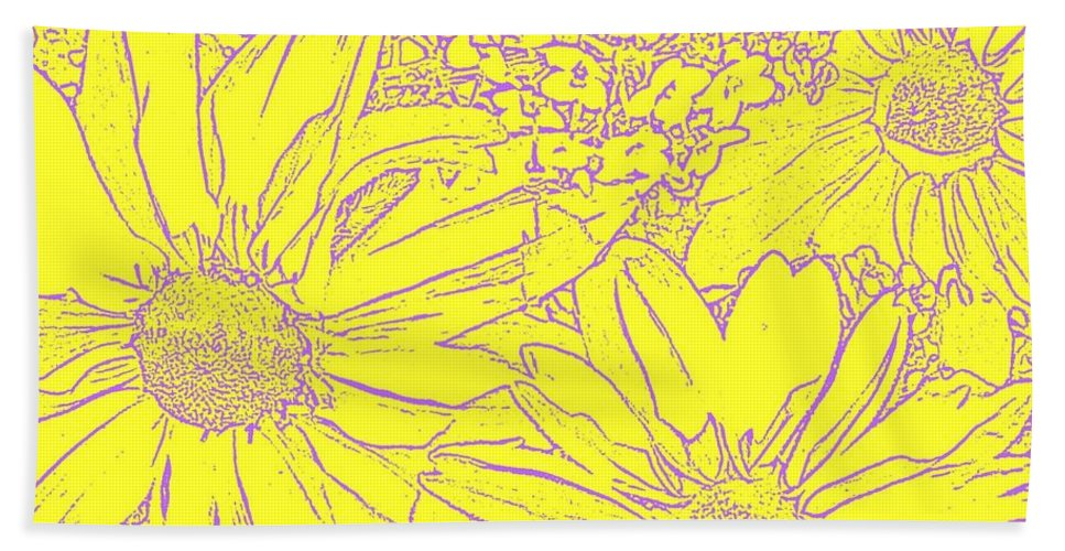 Nature Beach Towel featuring the photograph Digital Cone Flowers Drawing by Chris Berry
