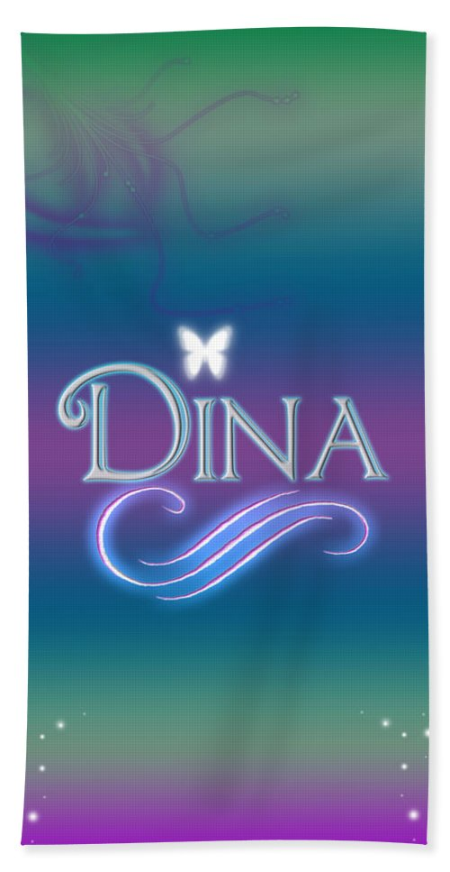 75488068a26c0 Abby Beach Towel featuring the digital art Dina Name Art by Becca Buecher