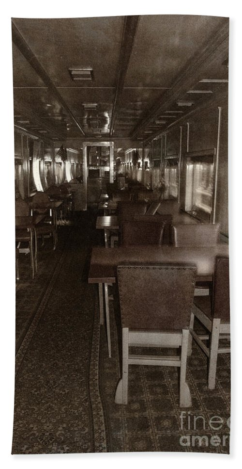 Train; Interior; Vintage; Old; Car; Train Car; Transportation; Inside; Indoors; Seats; Empty; Nobody; Desolate; Travel; Transport; Railway; Public Transportation; Dining Car; Restaurant; Diner; Sepia Beach Towel featuring the photograph Dining Car by Margie Hurwich