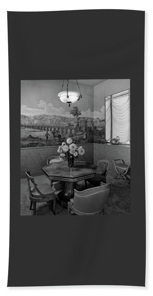 Architecture Beach Towel featuring the photograph Dining Room In Helena Rubinstein's Home by F. S. Lincoln
