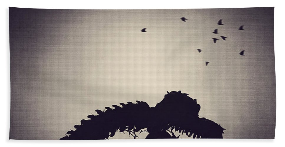 Dinosaur Beach Towel featuring the photograph Dino In The City by Trish Mistric