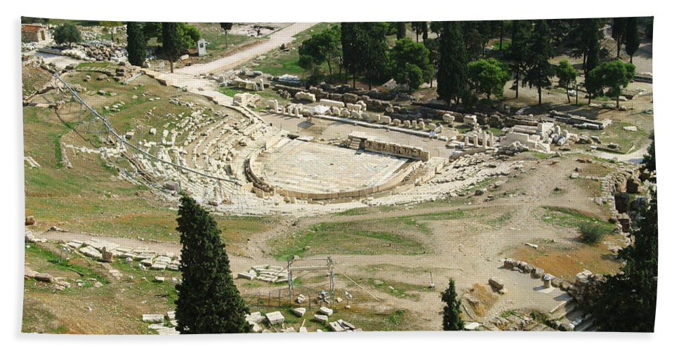 Dionysus Theater Beach Towel featuring the photograph Dionysus Amphitheater by Ellen Henneke
