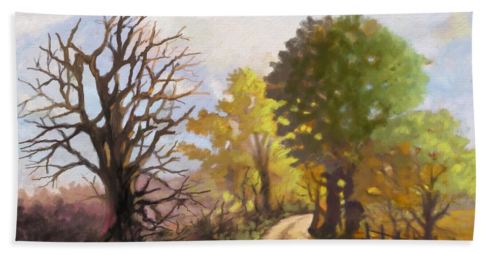 Landscape Beach Towel featuring the painting Dirt Road To Some Place by Anthony Mwangi