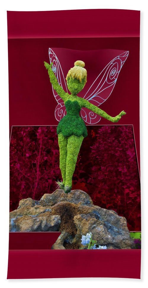 Tinker Bell Beach Towel featuring the photograph Disney Floral Tinker Bell 01 by Thomas Woolworth