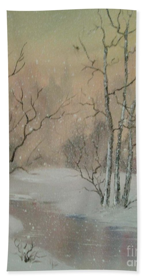 Winter Beach Towel featuring the painting Distant Spires by Suzette Broad