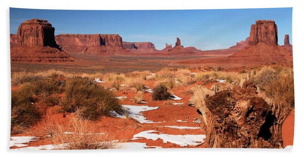 Monument Valley Beach Towel featuring the photograph Distant Towers by Adam Jewell