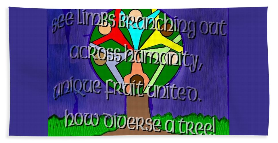 Diversity Beach Towel featuring the painting Diversity Tree by Pharris Art