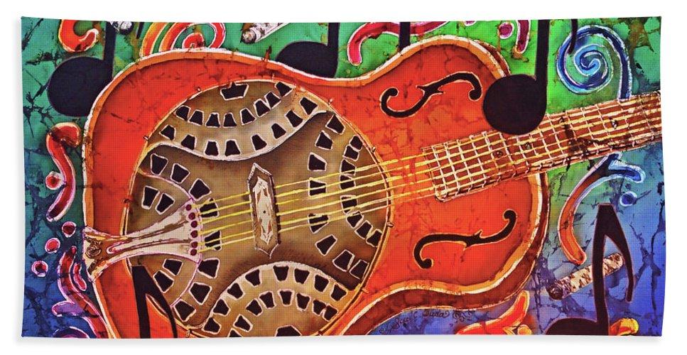 Dobro Beach Towel featuring the painting Dobro-slide Guitar-2 by Sue Duda