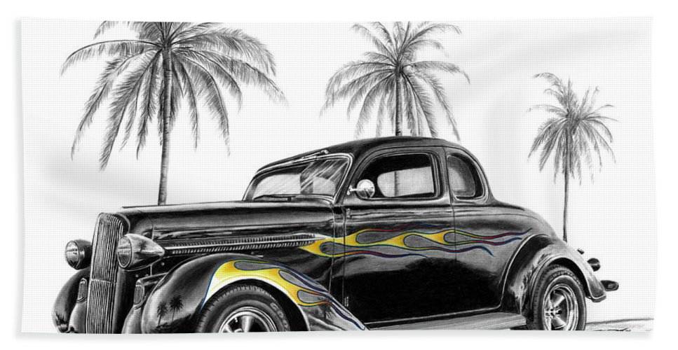 1936 Dodge Coupe Beach Towel featuring the drawing Dodge Coupe by Peter Piatt