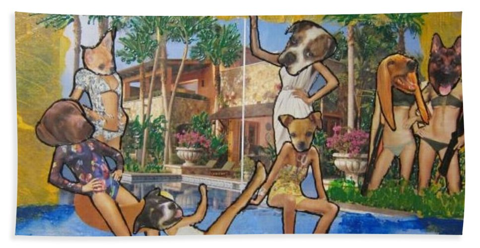 Dogs Beach Towel featuring the painting Dog Days Of Summer by Lisa Piper