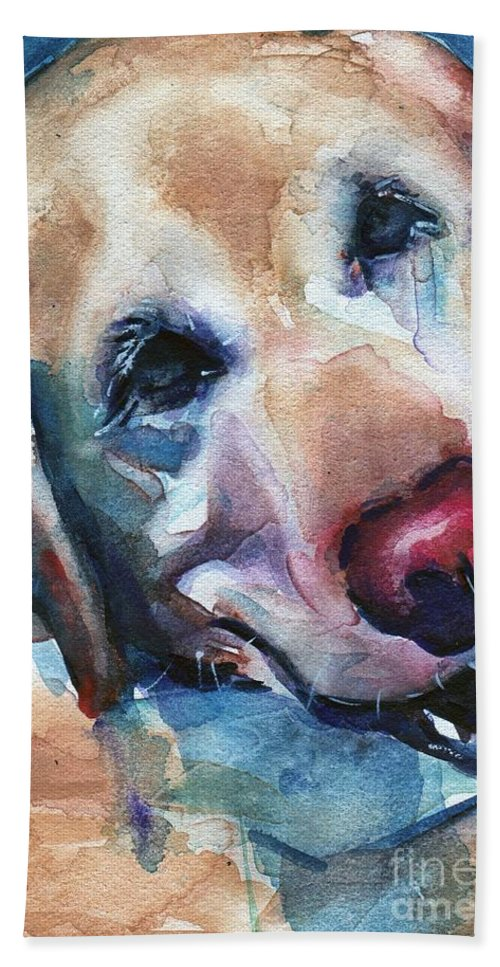 Dog Art Beach Towel featuring the painting Doggie Breath by Maria's Watercolor