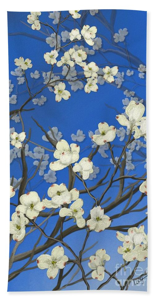 Floral Painting Beach Towel featuring the painting Dogwood Trees by Nancy Long