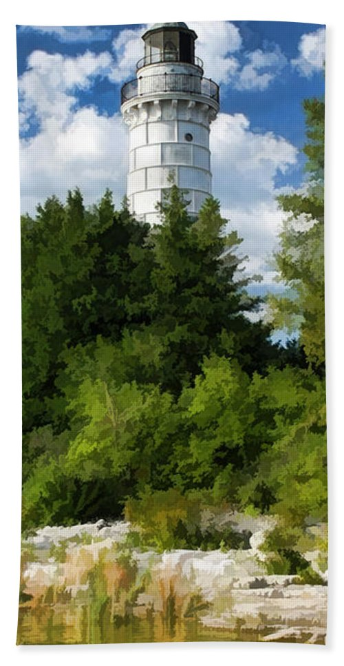 Cana Island Beach Towel featuring the painting Door County Cana Island Vertical Panorama by Christopher Arndt