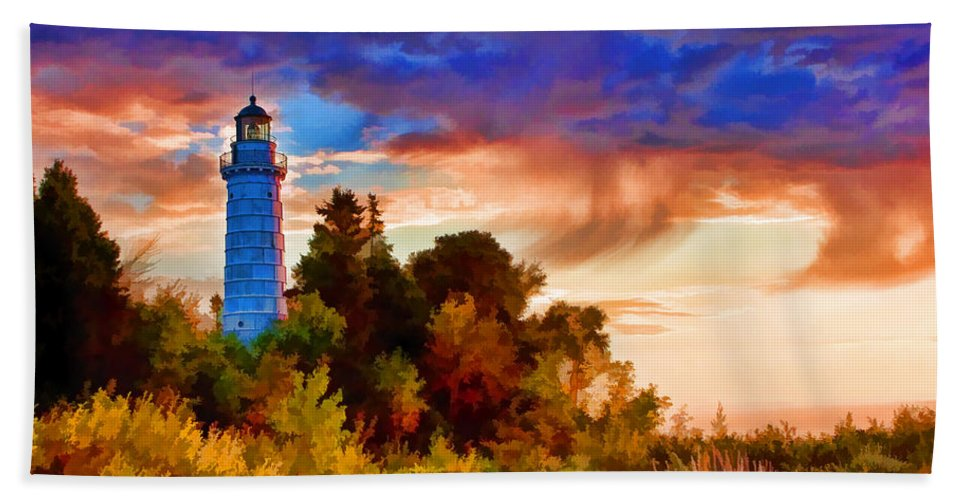 Cana Island Beach Towel featuring the painting Door County Cana Island Wisp by Christopher Arndt