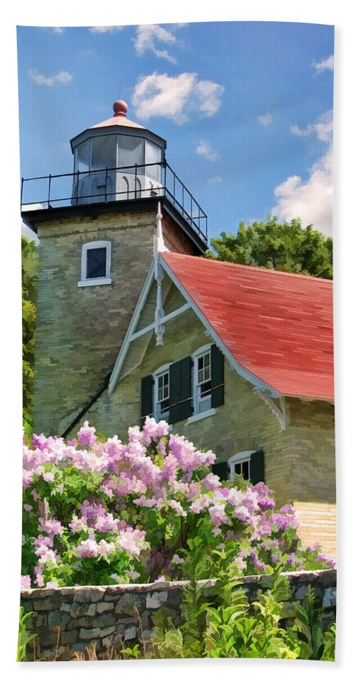 Door County Beach Towel featuring the painting Door County Eagle Bluff Lighthouse Lilacs by Christopher Arndt