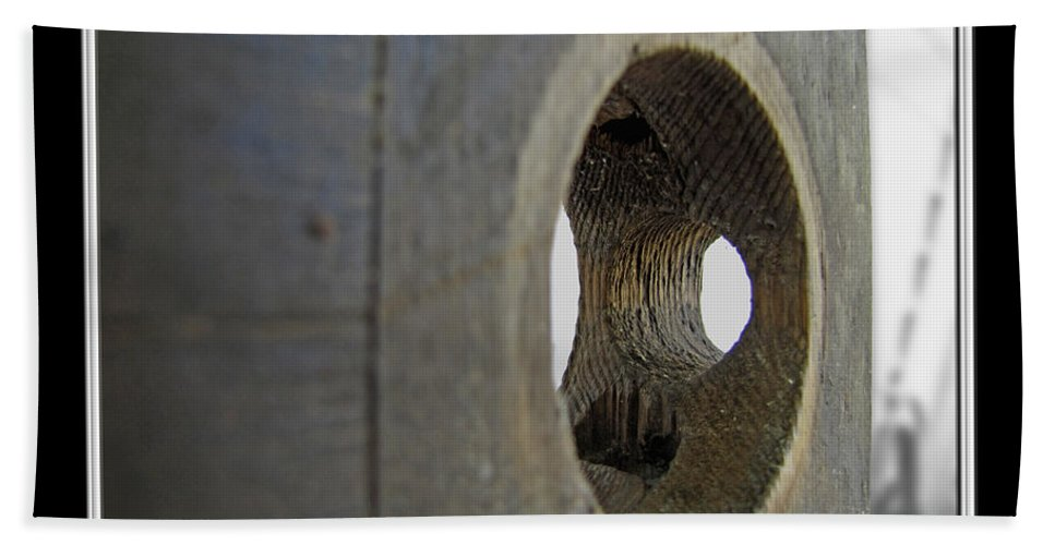 Arcitecture Beach Towel featuring the photograph Door Knob Hole I by Debbie Portwood