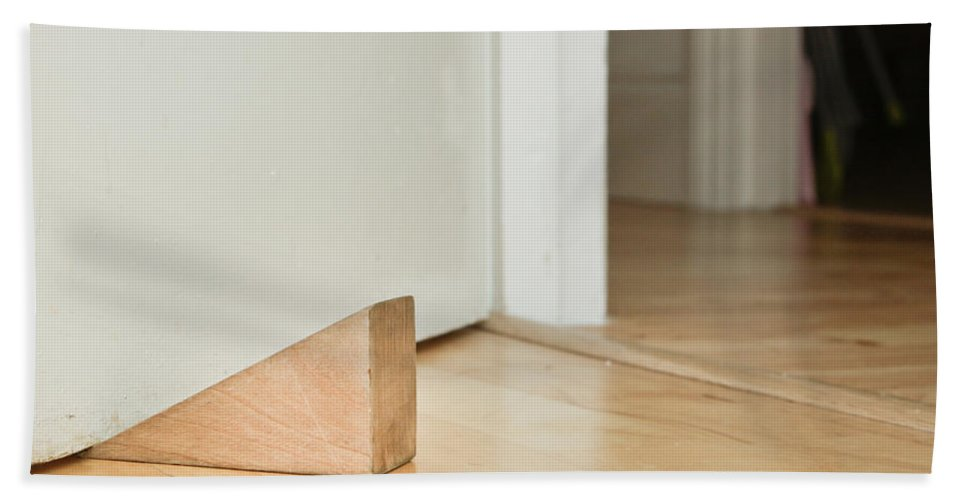 Board Beach Towel featuring the photograph Door Stopper by Tom Gowanlock