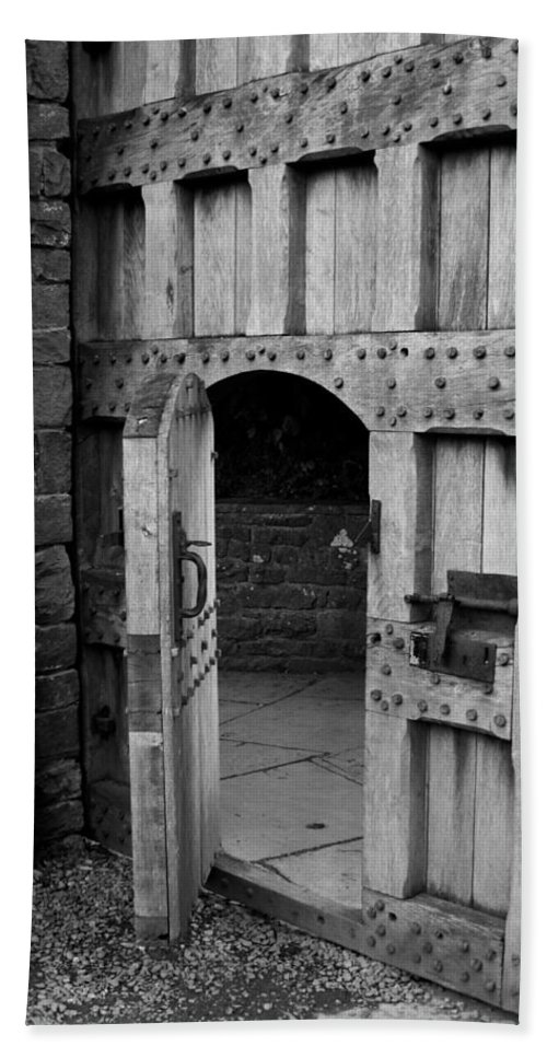 Black And White Beach Towel featuring the photograph Door Within A Door 1 by Denise Mazzocco