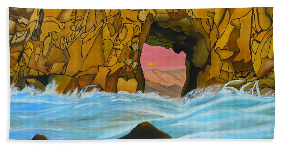 Sun Beach Towel featuring the painting Doorway To The Sun by Anthony Dunphy